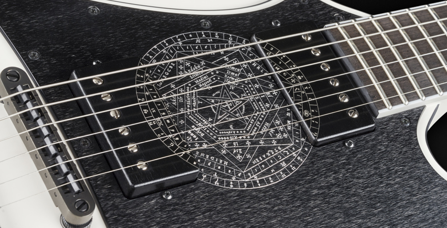 Idolmaker #17-3450 - Brushed Metal Pickguard with Seal of God Engraving